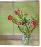 Tulips In Mason Jar Wood Print