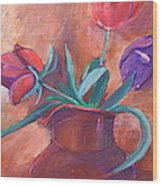 Tulips In Pitcher Wood Print