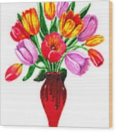 Tulips In The Vase Wood Print