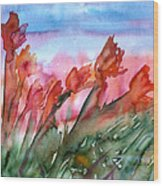 Tulips In The Wind Wood Print
