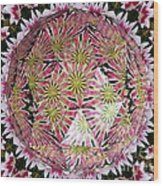 Tulips Kaleidoscope Under Polyhedron Glass Wood Print