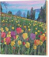 Tulips Lake Wood Print