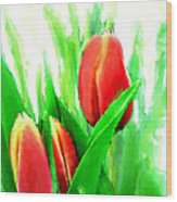Tulips Wood Print by Moon Stumpp
