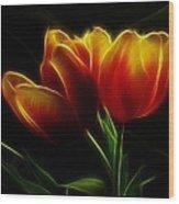 Tulips Of Light Wood Print