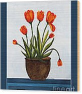 Tulips On A Blue Buffet With Borders Wood Print by Barbara Griffin