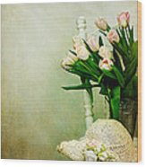 Tulips On A Chair Wood Print