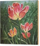 Tulips On Fire Wood Print
