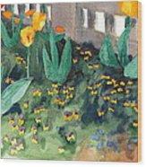 Tulips Watercolor Painting Wood Print