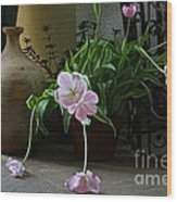 Tulips With Earthenware Jar And Wrought Iron Wood Print
