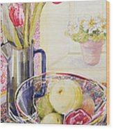 Tulips With Fruit In A Glass Bowl  Wood Print by Joan Thewsey