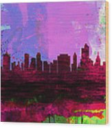 Tulsa Watercolor Skyline 2 Wood Print