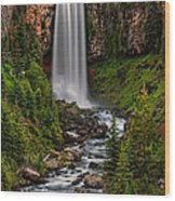 Tumalo Falls Wood Print by Pamela Winders