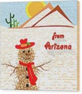 Arizona Tumbleweed Snowman Wood Print