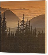Tumtum Peak At Sunset Wood Print