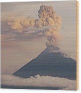 Tungurahua Volcano Erupting Wood Print