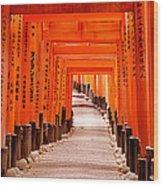 Tunnel Of Torii Gates, Fushimi Inari Wood Print