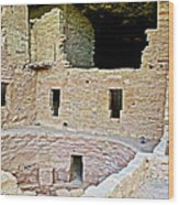 Tunnel Opening In Kiva Of Spruce Tree House On Chapin Mesa In Mesa Verde National Park-colorado  Wood Print