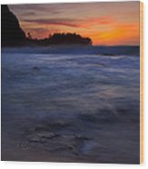 Tunnels Beach Dusk Wood Print