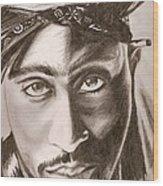 Tupac Wood Print by Michael Mestas