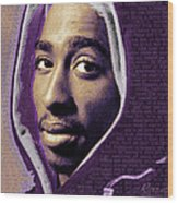 Tupac Shakur And Lyrics Wood Print by Tony Rubino