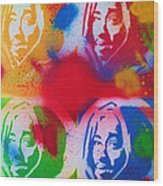 Tupac V Warhol Wood Print