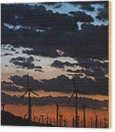 Turbine Sunset Wood Print