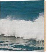 Turbulent Water Of Breaking Ocean Wave And Spray Wood Print