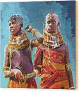 Young Turkana Girls Wood Print