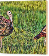 Turkey Pair Wood Print