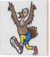 Turkey Run Runner Cartoon Isolated Wood Print by Aloysius Patrimonio