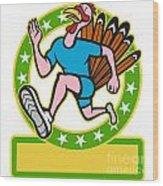Turkey Run Runner Side Cartoon Wood Print by Aloysius Patrimonio