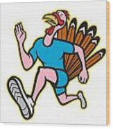 Turkey Run Runner Side Cartoon Isolated Wood Print by Aloysius Patrimonio