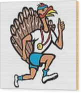 Turkey Run Runner Thumb Up Cartoon Wood Print by Aloysius Patrimonio