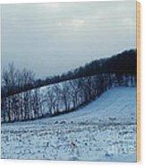 Turkeys In A Winter Field Wood Print