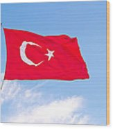 Turkish Flag Flapping In The Wind Wood Print