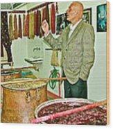 Turkish Rug Salesman Explains About Natural Dye Vats In Weaving Factory In Avanos-turkey  Wood Print