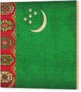 Turkmenistan Flag Vintage Distressed Finish Wood Print