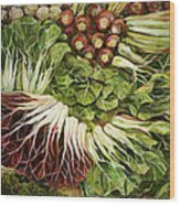 Turnip And Chard Concerto Wood Print by Jen Norton