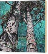 Turquois Trees  Wood Print