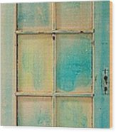 Turquoise And Pale Yellow Panel Door Wood Print