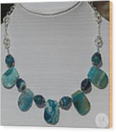Turquoise And Sapphire Agate Necklace 3674 Wood Print