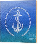 Turquoise Blue Tropical Sea With Vintage White Anchor Wood Print