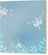 Turquoise Dragonfly Art Wood Print