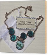 Turquoise French Francs Dragonfly Necklace Wood Print