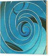 Turquoise Glass Koru Wood Print