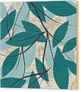 Turquoise Leaves Wood Print