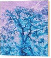 Turquoise Oak Tree Wood Print by Priya Ghose