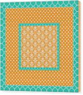 Turquoise Pumpkin Abstract Wood Print