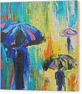 Turquoise Rain Wood Print