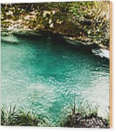 Turquoise River Waterfall And Pond Wood Print